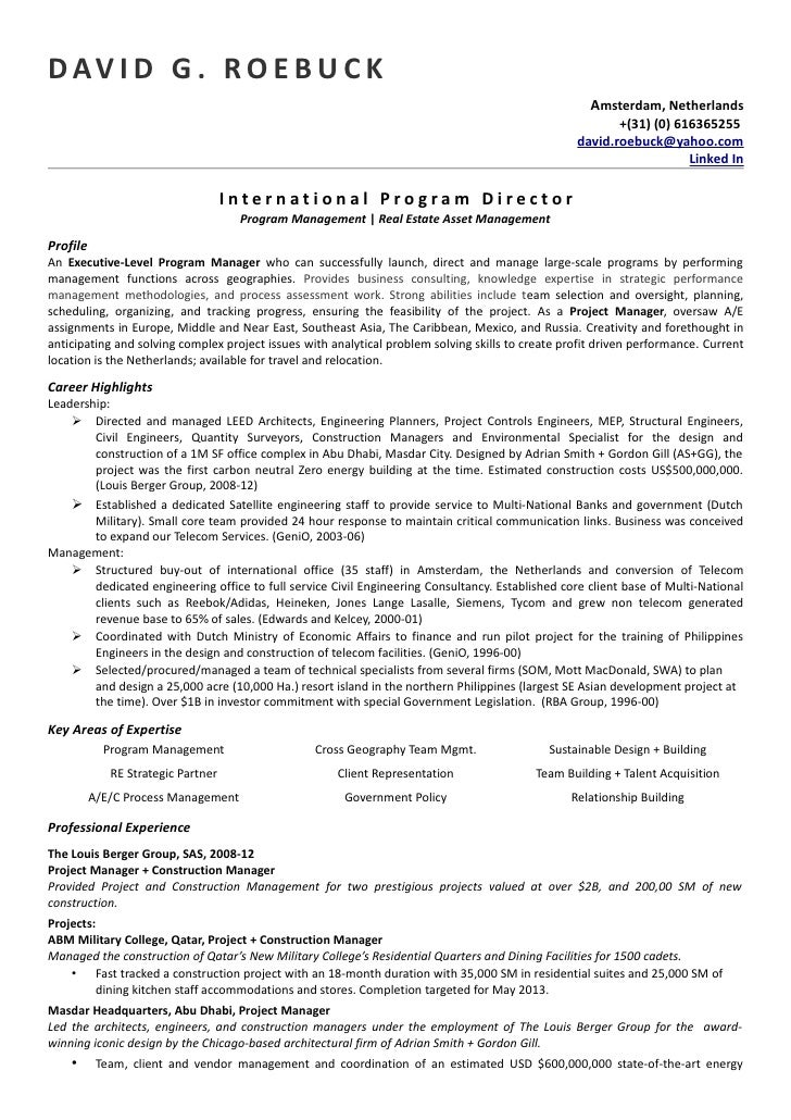 Project Manager Resume. Sample Resume For Project Manager ...