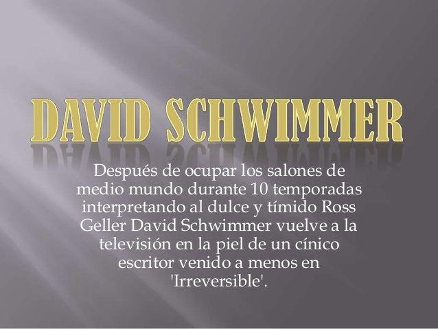 Después de ocupar los salones de medio mundo durante 10 temporadas interpretando al dulce y tímido Ross Geller David Schwi...