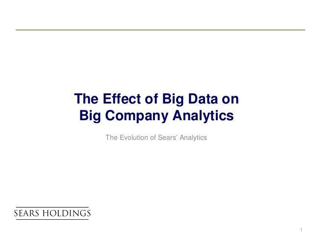 The Effect of Big Data on Big Company Analytics    The Evolution of Sears' Analytics                                      ...