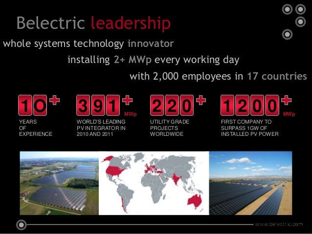 Belectric leadershipwhole systems technology innovator                installing 2+ MWp every working day                 ...