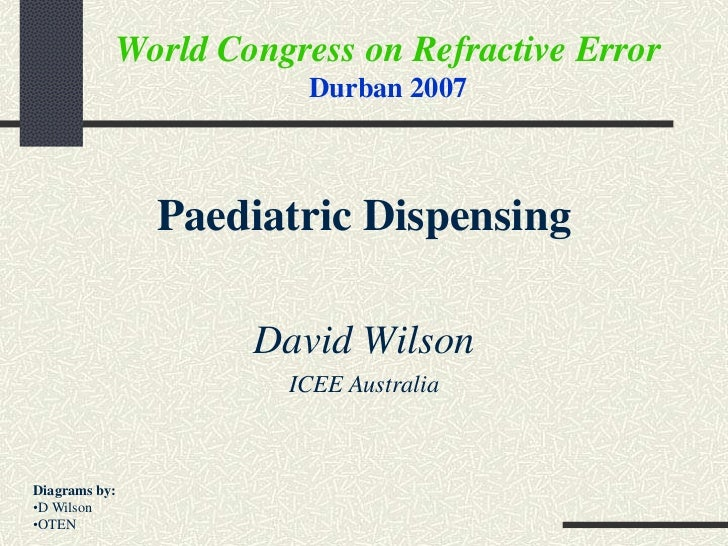 World Congress on Refractive Error                       Durban 2007               Paediatric Dispensing                  ...
