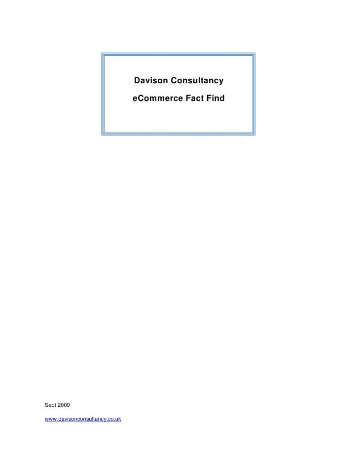Davison Consultancy E Commerce Fact Find