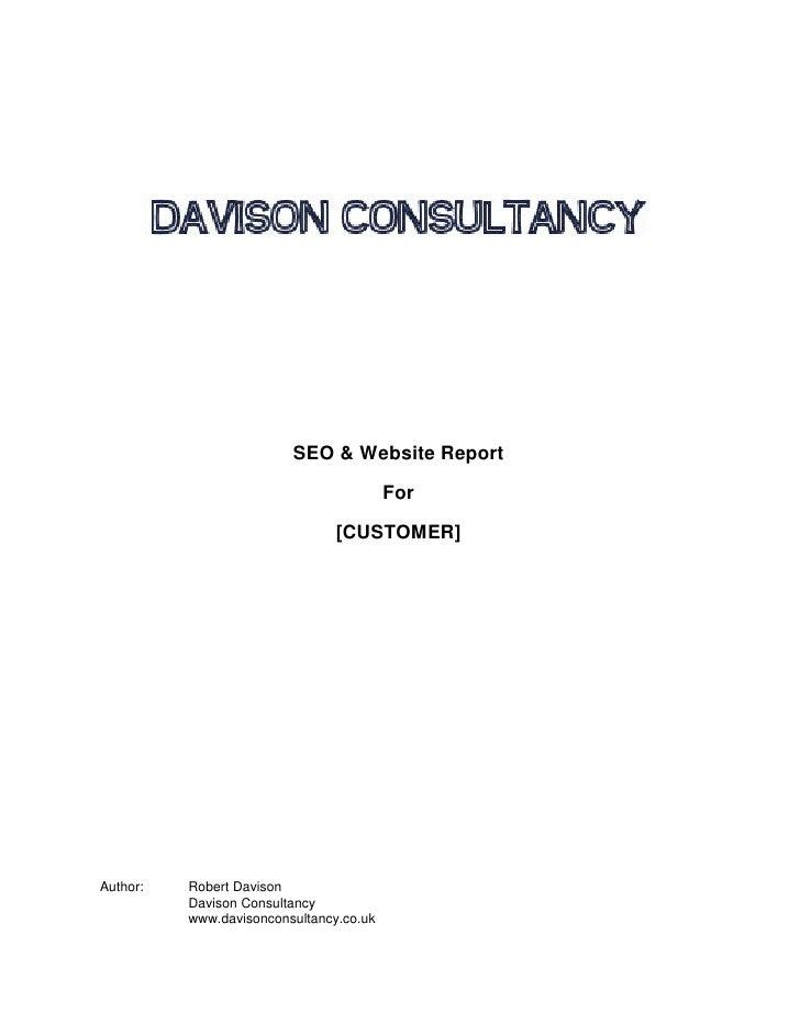 SEO & Website Report                                           For                                  [CUSTOMER]     Author:...
