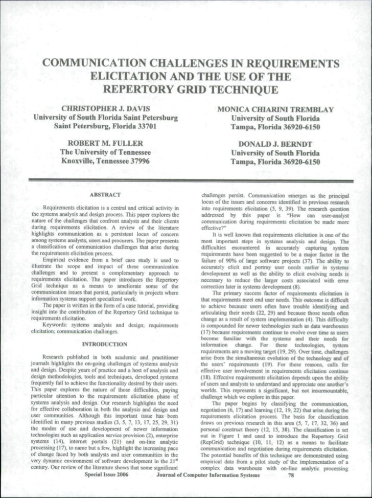 COMMUNICATION CHALLENGES IN REQUIREMENTS          ELICITATION AND THE USE OF THE            REPERTORY GRID TECHNIQUE      ...