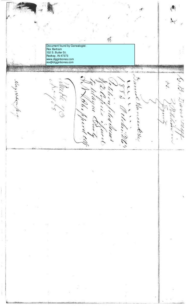 Document found by Genealogist:Rex Bertram132 S. Butler St.Redkey, IN 47373www,digginbones.comrex@digginbones.com