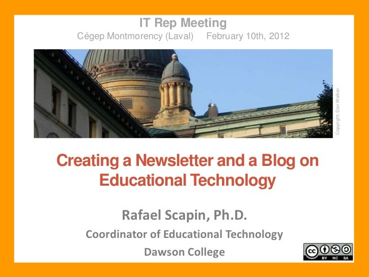 Creating a Newsletter and a Blog on Educational Technology