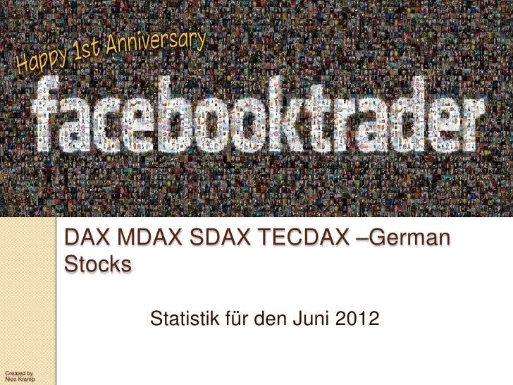 DAX MDAX SDAX TECDAX –German             Stocks                   Statistik für den Juni 2012Created byNico Kramp