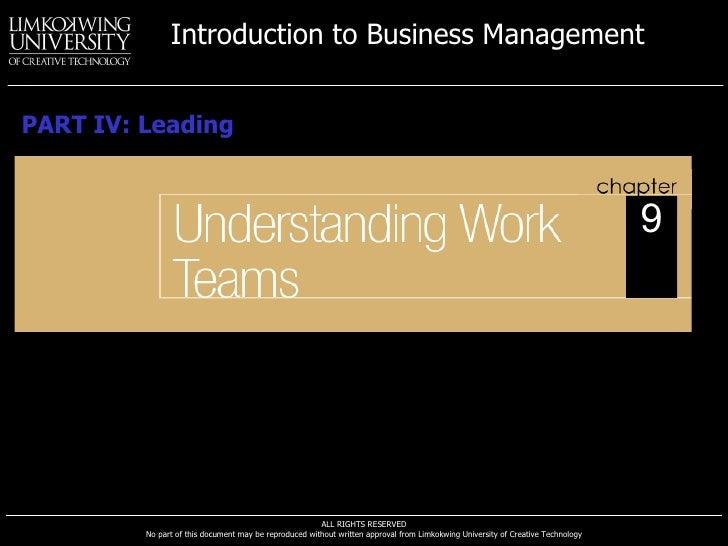 Understanding Work Teams PART IV: Leading 9