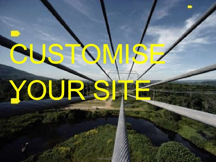 CUSTOMISE YOUR SITE Introductions