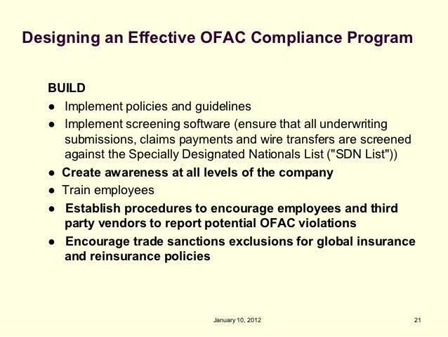 Ofac S Specially Designated Nationals Program