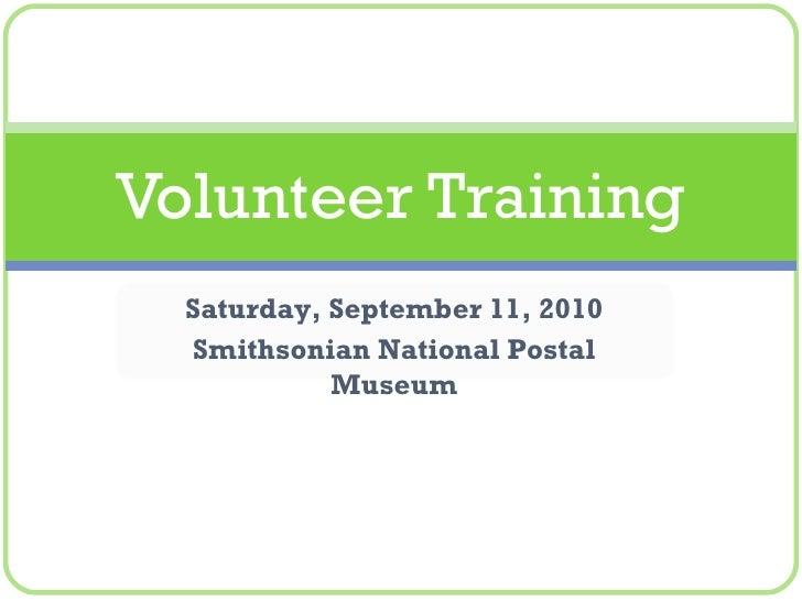 Volunteer Opportunities - September 2010