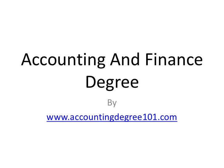 Online Accounting And Finance Degree