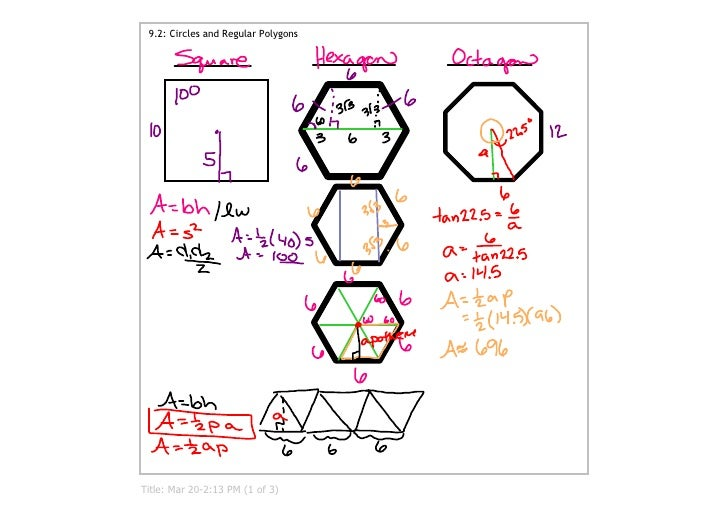 9.2: Circles and Regular Polygons     Title: Mar 20­2:13 PM (1 of 3)