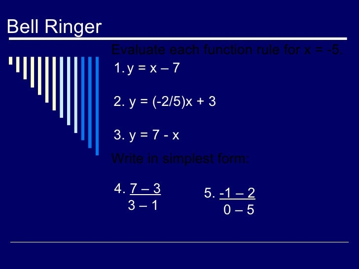 Bell Ringer Evaluate each function rule for x = -5. Write in simplest form: <ul><li>y = x – 7 </li></ul><ul><li>2. y = (-2...