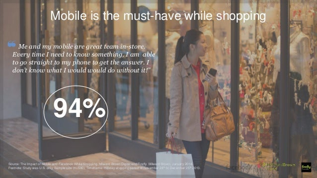 Mobile is the must-have while shopping ❝Me and my mobile are great team in-store. Every time I need to know something, I a...
