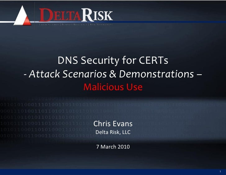 DNS Security for CERTs - Attack Scenarios & Demonstrations –             Malicious Use                 Chris Evans        ...