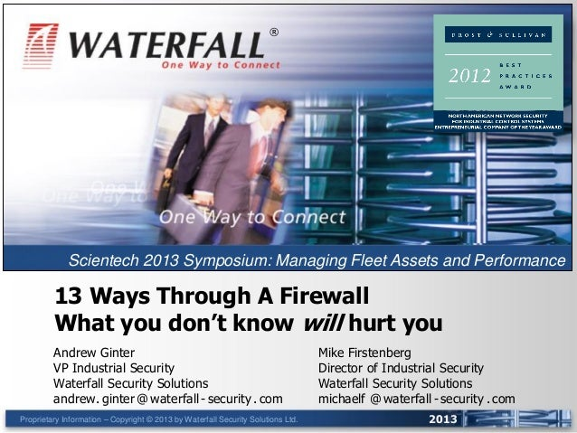Proprietary Information – Copyright © 2013 by Waterfall Security Solutions Ltd. 2013 13 Ways Through A Firewall What you d...