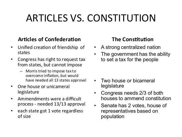 articles of confederation vs the constitution essay The articles of confederation and united states constitution are two documents  that shaped the us government into what it is today.