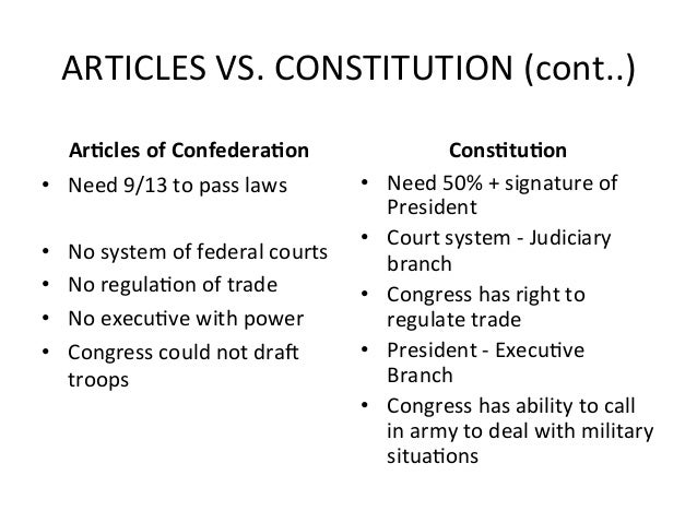 articles of confederation vs constitution 2 essay Articles of confederation vs the constitution the following chart compares some of the provisions of the articles of confederation with those in the constitution it's important to note that most commentators see the articles period (1781-1789) as a weak one in terms of governmental power.