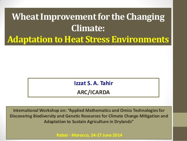 Wheat Improvement for the Changing Climate: Adaptation to Heat Stress Environments Izzat S. A. Tahir ARC/ICARDA Internatio...