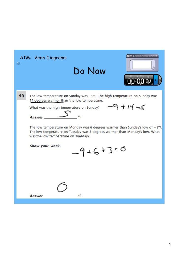 AIM: Venn Diagrams                     Do Now                              1