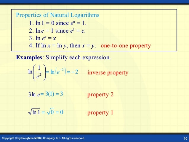 Use The Properties Of Natural Logarithms To Simplify The Function