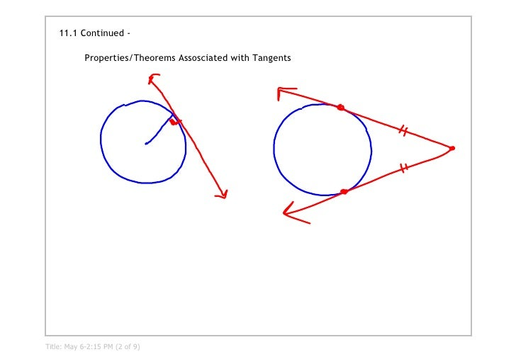 11.1 Continued ‐              Properties/Theorems Assosciated with Tangents     Title: May 6­2:15 PM (2 of 9)