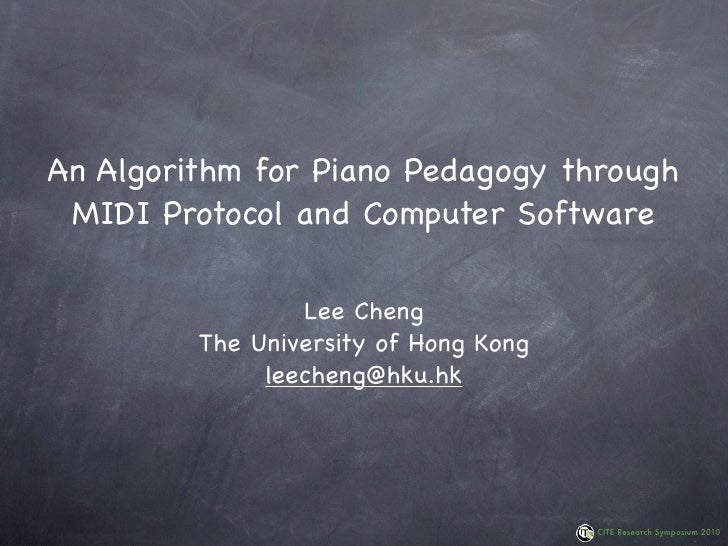 An algorithm for piano pedagogy through MIDI protocol and computer software