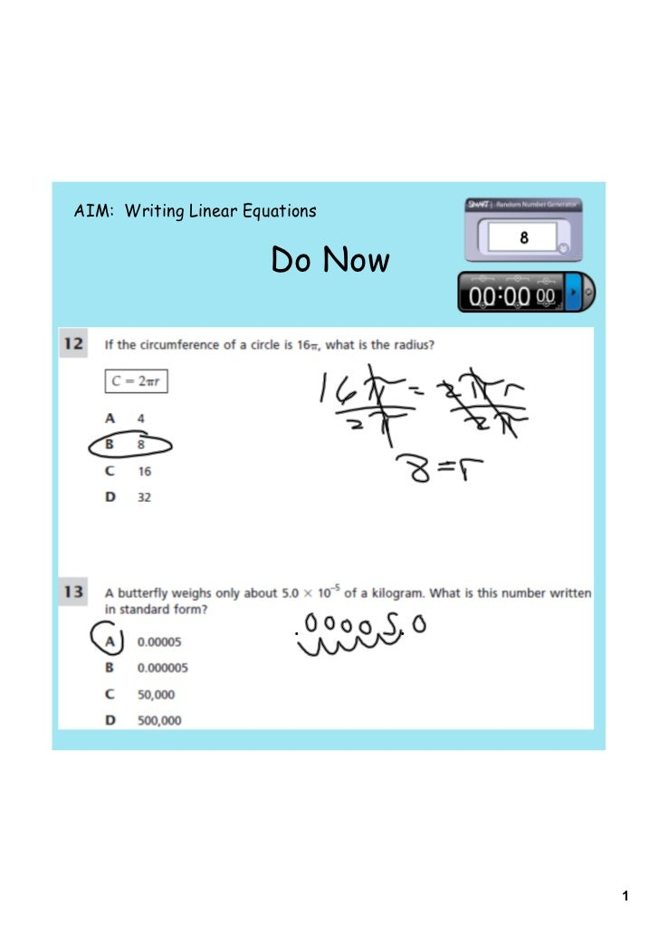 AIM: Writing Linear Equations                       Do Now                                1