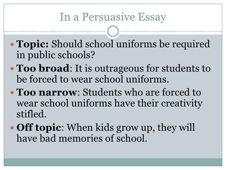 "persuasive essay for not wearing uniforms Without school uniforms, it becomes easy for ""bullies"" to target the students who look different and who are not wearing the ""right"" clothes in conclusion, school uniforms ensure that all students have a level playing field in terms of social classes and education."