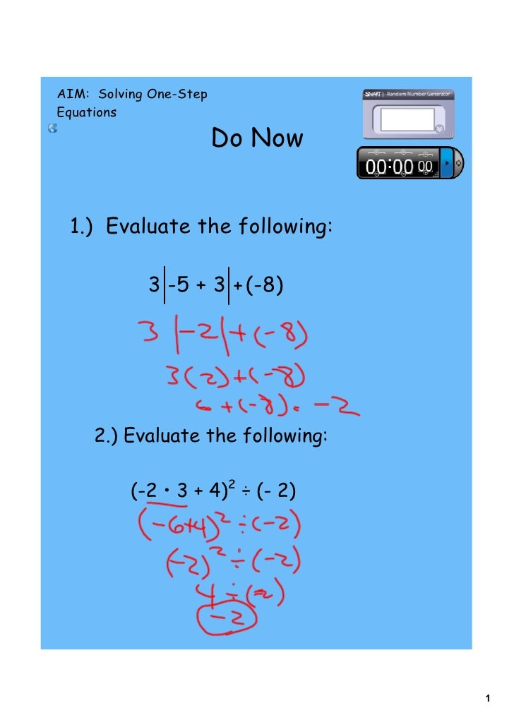 Day 8 one step equations