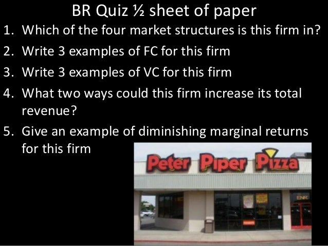 BR Quiz ½ sheet of paper 1. Which of the four market structures is this firm in? 2. Write 3 examples of FC for this firm 3...
