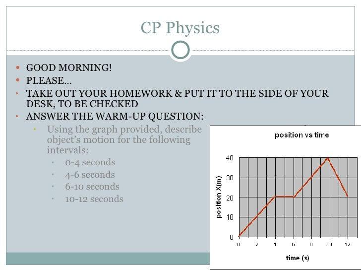 CP Physics <ul><li>GOOD MORNING! </li></ul><ul><li>PLEASE… </li></ul><ul><li>TAKE OUT YOUR HOMEWORK & PUT IT TO THE SIDE O...