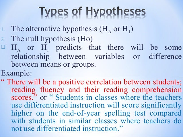 Example Of A Hypothesis In A Research Paper