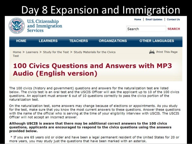 Day 8 Expansion and Immigration