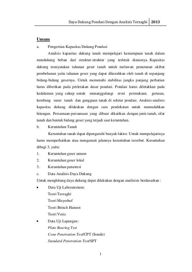 Daya Dukung Pondasi Dengan Analisis Terzaghi 20131Umuma. Pengertian Kapasitas Dukung PondasiAnalisis kapasitas dukung tana...