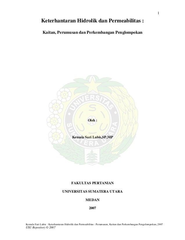 1             Keterhantaran Hidrolik dan Permeabilitas :              Kaitan, Perumusan dan Perkembangan Penglompokan     ...
