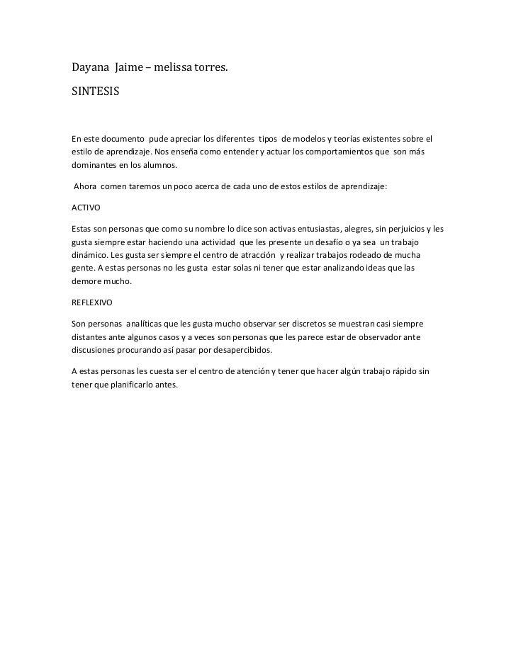 Dayana  Jaime – melissa torres.<br />SINTESIS<br /> <br />En este documento  pude apreciar los diferentes  tipos  de model...
