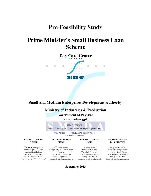 Pre-Feasibility Study Prime Minister's Small Business Loan Scheme Day Care Center  Small and Medium Enterprises Developmen...