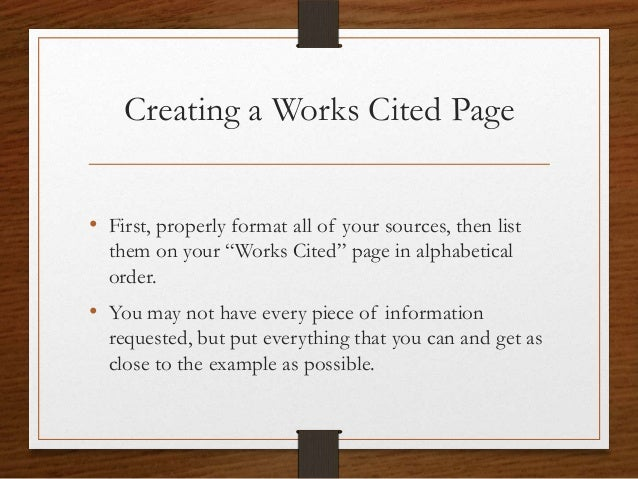 work cited page for research paper
