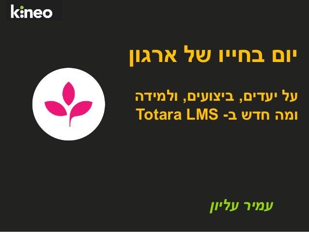 יום בחייו של ארגון - על יעדים, ביצועים, ולמידה ומה חדש ב -Totara LMS