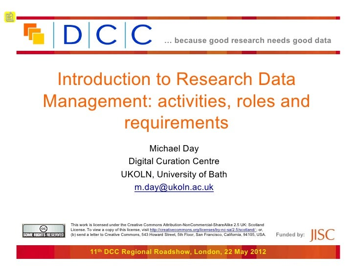 Introduction to Research Data Management: activities, roles and requirements