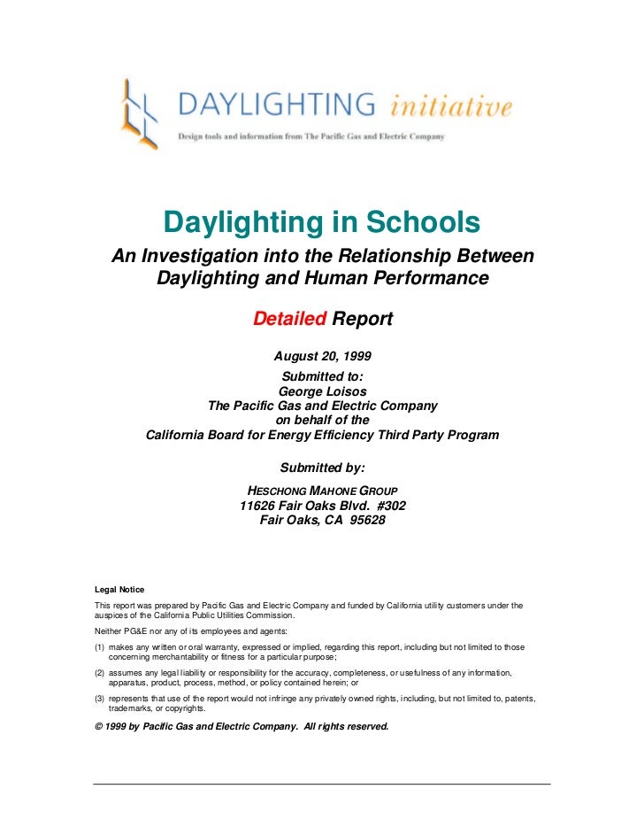 Daylighting in Schools    An Investigation into the Relationship Between         Daylighting and Human Performance        ...