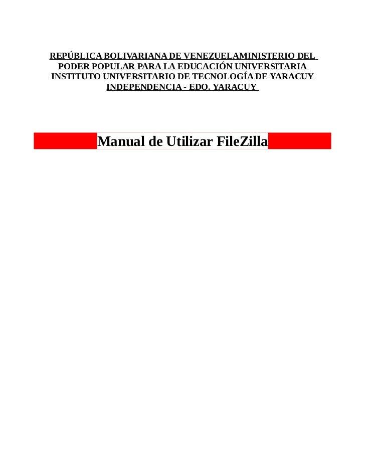 Manual de utilizar FileZilla