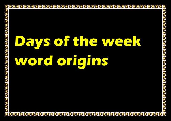 Days of the weekword origins