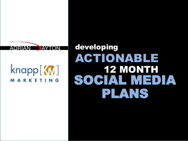 developing ACTIONABLE SOCIAL MEDIA PLANS 12 MONTH