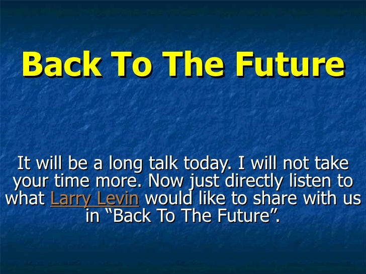 Day Trading Blog : Back to The Future