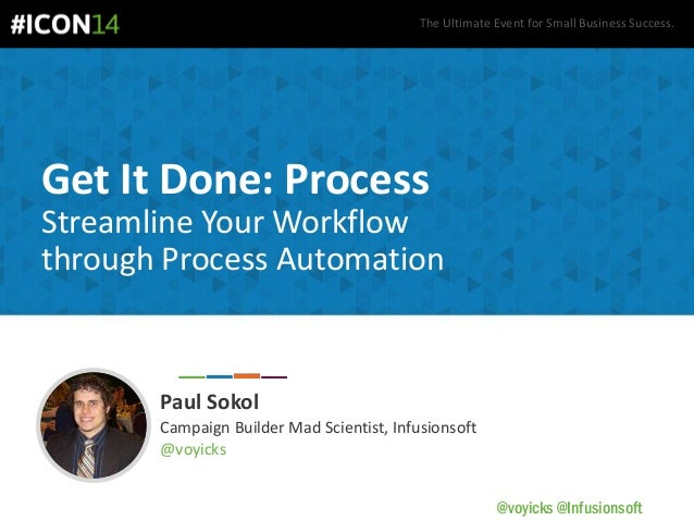 The Ultimate Event for Small Business Success. @voyicks @Infusionsoft Get It Done: Process Streamline Your Workflow throug...