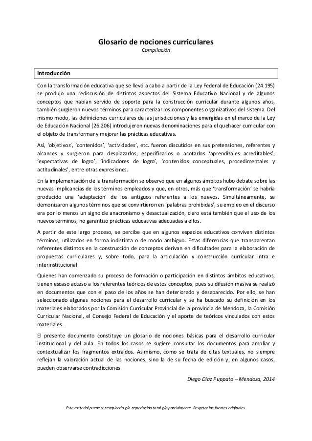 Glosario de nociones curriculares  Compilación  Introducción  Con la transformación educativa que se llevó a cabo a partir...