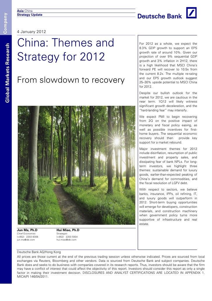 Asia ChinaCompany                            Strategy Update                            4 January 2012                    ...